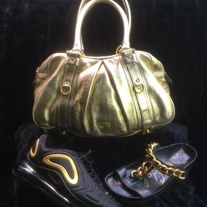 Burberry Gold Leather Satchel